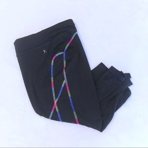XL Cropped Black Leggings with Neon Thread Lining